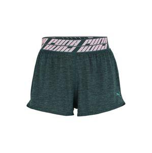 PUMA Sportovní kalhoty 'Own It'  tmavě zelená / růžová