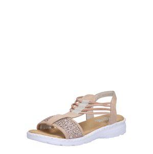RIEKER Páskové sandály  bílá / světle hnědá / stříbrná / pudrová