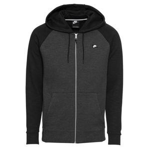 Nike Sportswear Mikina s kapucí 'M NSW OPTIC HOODIE FZ'  tmavě šedá / černá