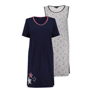 Ulla Popken Noční košilka  tmavě modrá / bílý melír / pitaya / černá / šedý melír