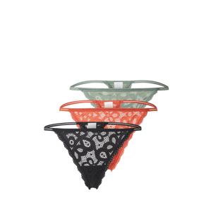 HOLLISTER Tanga 'UNDIE'  černá / korálová / pastelově zelená