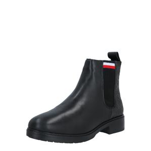 TOMMY HILFIGER Chelsea boty  černá / bílá / červená / tmavě modrá