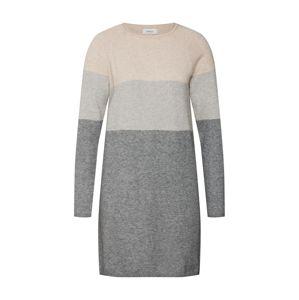 ONLY Úpletové šaty 'DRESS KNT NOOS'  tmavě šedá / světle šedá / světle béžová