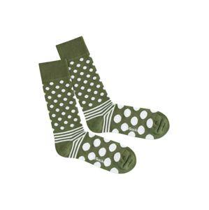 DillySocks Ponožky 'Dot Stripe Nature'  zelená / bílá