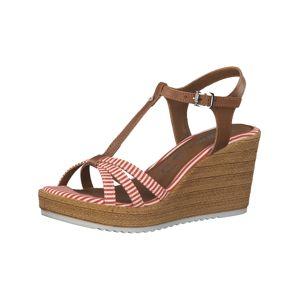 TAMARIS Páskové sandály  koňaková / červená / bílá