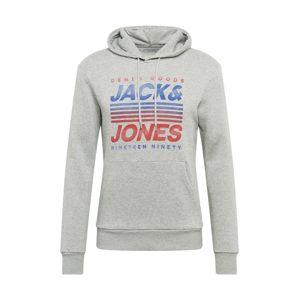 JACK & JONES Mikina 'Grand'  světle šedá / červená / modrá