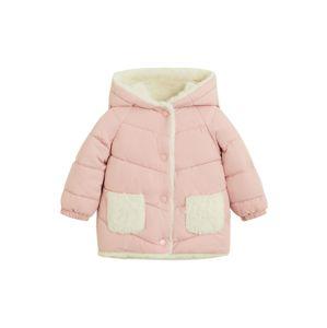 MANGO KIDS Zimní bunda  pastelově růžová / barva bílé vlny