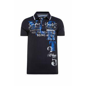 CAMP DAVID Tričko  bílá / marine modrá / královská modrá