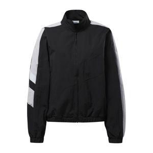 REEBOK Sportovní bunda  černá / bílá / světle šedá