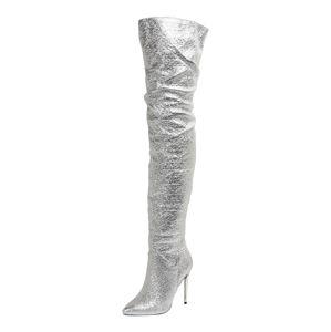 BUFFALO Kozačky nad kolena 'FREIJA'  stříbrná