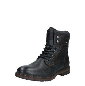 TOM TAILOR DENIM Šněrovací boty  černá