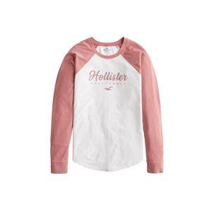 HOLLISTER Tričko  bílá / pink