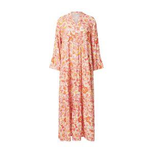 Zwillingsherz Košilové šaty 'Karen'  bílá / oranžová / růžová / broskvová