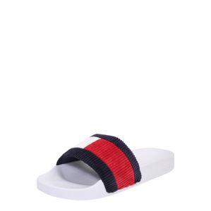 Tommy Jeans Pantofle 'Corduroy'  bílá / tmavě modrá / červená