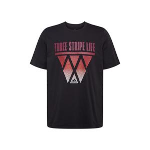ADIDAS PERFORMANCE Funkční tričko '3-Streifen Hoops'  černá / bílá / světle červená
