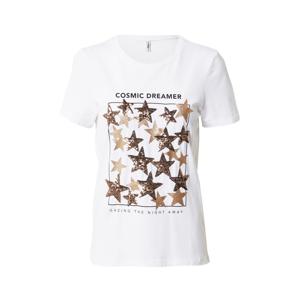 ONLY Tričko 'KITA'  bílá / zlatá / černá