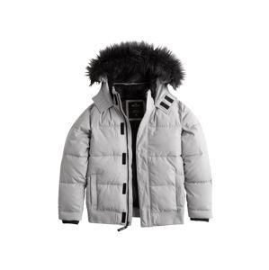 HOLLISTER Zimní bunda 'XM19-PUFFER BOMBER GREY 1CC'  světle šedá