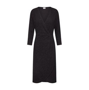 JACQUELINE de YONG Koktejlové šaty 'JDYCAROL 3/4 GLITTER WRAP DRESS EXP'  černá