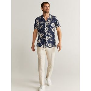 MANGO MAN Košile  barva bílé vlny / tmavě modrá