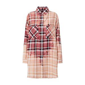 DIESEL Košilové šaty 'D-SUPER-G'  červená / černá / růžová