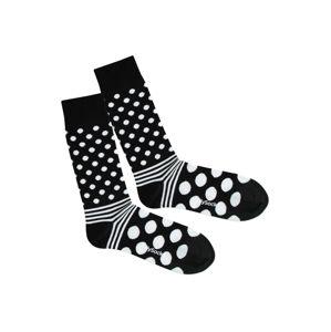 DillySocks Ponožky 'Dot Stripe Night'  černá / bílá