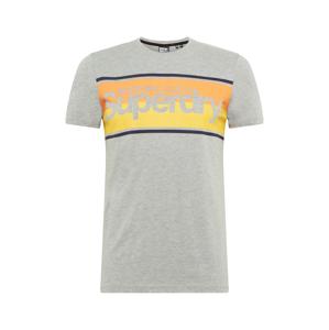 Superdry Tričko  šedý melír / marine modrá / zlatě žlutá / oranžová
