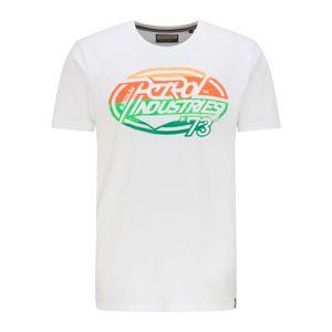 Petrol Industries Tričko  bílá / jasně oranžová / tmavě oranžová / zelená / světle zelená