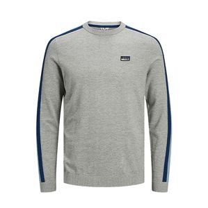 JACK & JONES Svetr 'JCOBADGE KNIT CREW NECK'  šedá