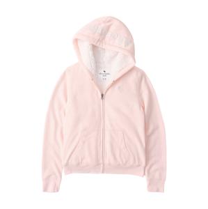 Abercrombie & Fitch Mikina s kapucí  růžová / bílá