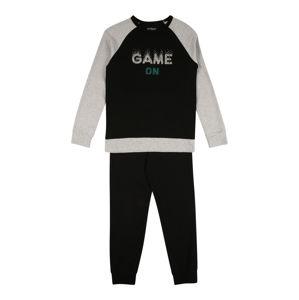SCHIESSER Pyžamo  černá / šedý melír / smaragdová