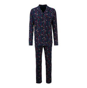 SCHIESSER Pyžamo dlouhé  černá / tmavě modrá / červená / bílá