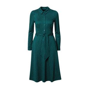 King Louie Košilové šaty 'Sheeva'  tmavě zelená / bílá