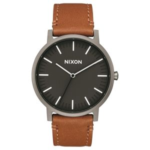 Nixon Analogové hodinky 'Porter Leather'  hnědá / antracitová / černá