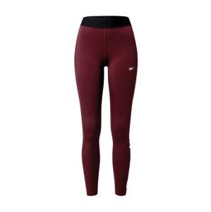 REEBOK Sportovní kalhoty  vínově červená / černá / bílá