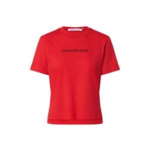 Calvin Klein Jeans Tričko 'SHRUNKEN INSTITUTIONAL LOGO TEE'  červená