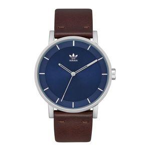 ADIDAS ORIGINALS Analogové hodinky 'District L1'  stříbrná / modrá / tmavě hnědá
